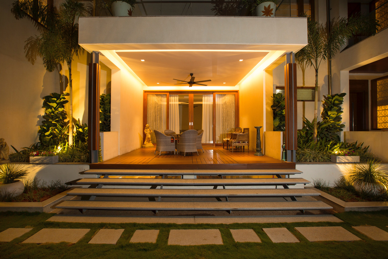 Contemporary seating deck with Natural wooden flooring